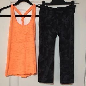 Grey Geometric Capri Leggings Tank Workout Outfit